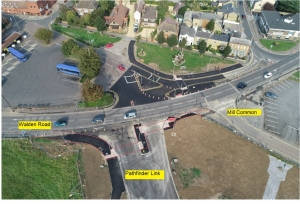 aerial photo of the new pathfinder link road, huntingdon