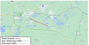 map of a1307 road closure showing diversion routes